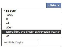 Facebook gizlilik ayarları, arkadaş kategorizasyonu