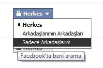 Facebook gizlilik ayarları, arama sonuçları