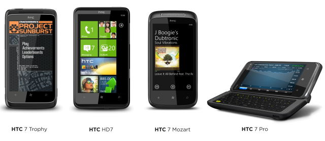 HTC 7 Mozart, HTC 7 Trophy, HTC 7 Pro ve HTC HD7