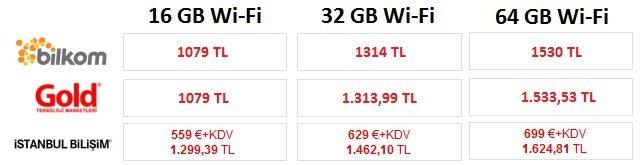 iPad Fiyatları Wi-fi