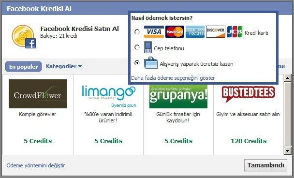 Facebook Sanal Para Satın Alma