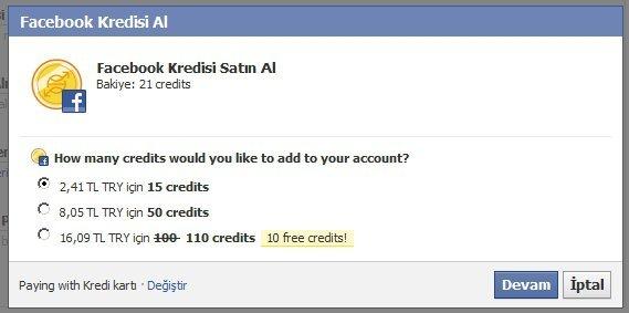 Facebook Kredisi Satın Al