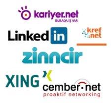 Kariyer.net, Zinncir.com, Kref.net, Xing.com, Cember.net, Linkedin.com