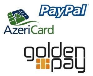 Paypal, AzeriCard, GoldenPay