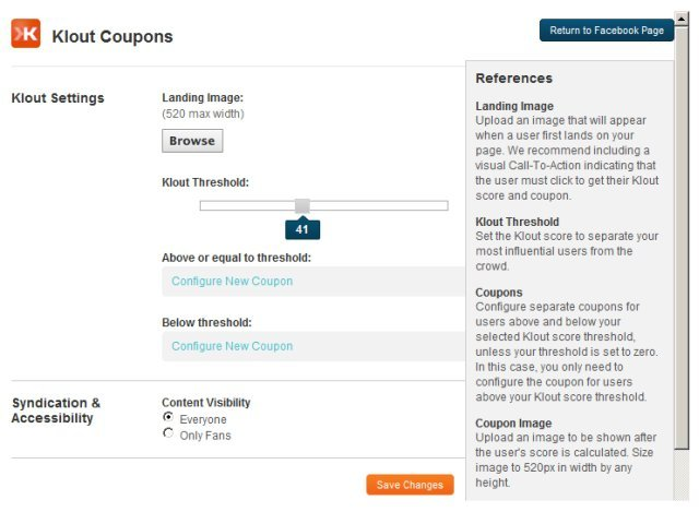 Klout Coupons for Pages -  Involver