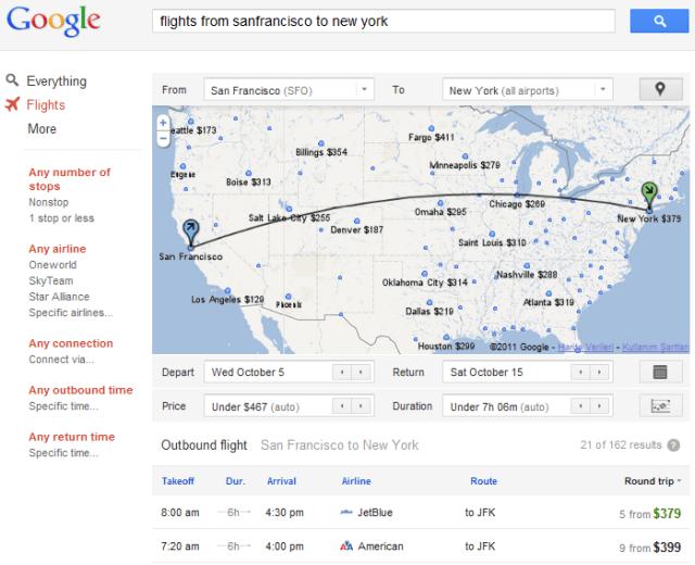 Google Flights Arama