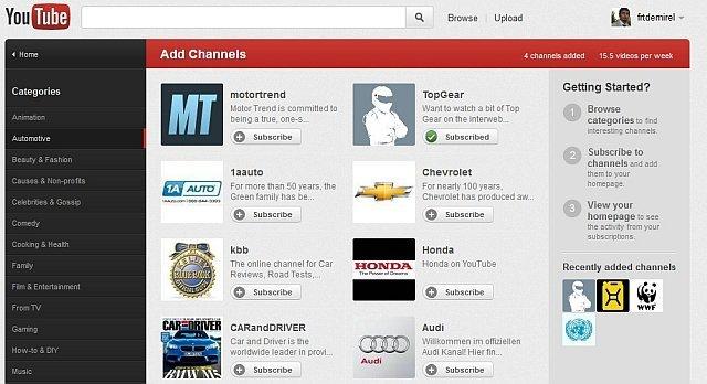 Yeni Youtube'da Kanalları Önizleyip Abone Olabiliyorsunuz