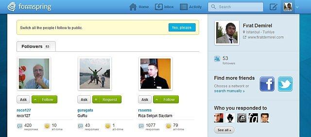 Formspring artık ilgi alanlarına odaklı bir sosyal ağ. formspring,ade olono