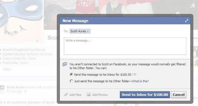 Facebook'ta Zuckerberg'e özel mesaj göndermek 100 dolar