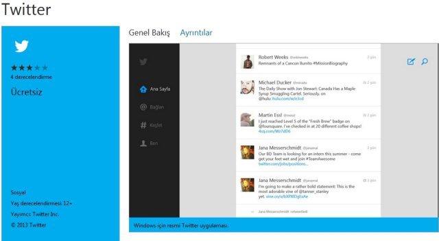 Twitter uygulamasi windows magazasi