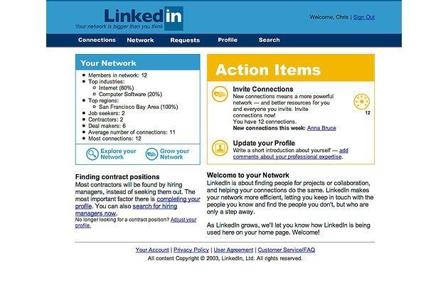 2003 yılında LinkedIn işte böyle görünüyordu...
