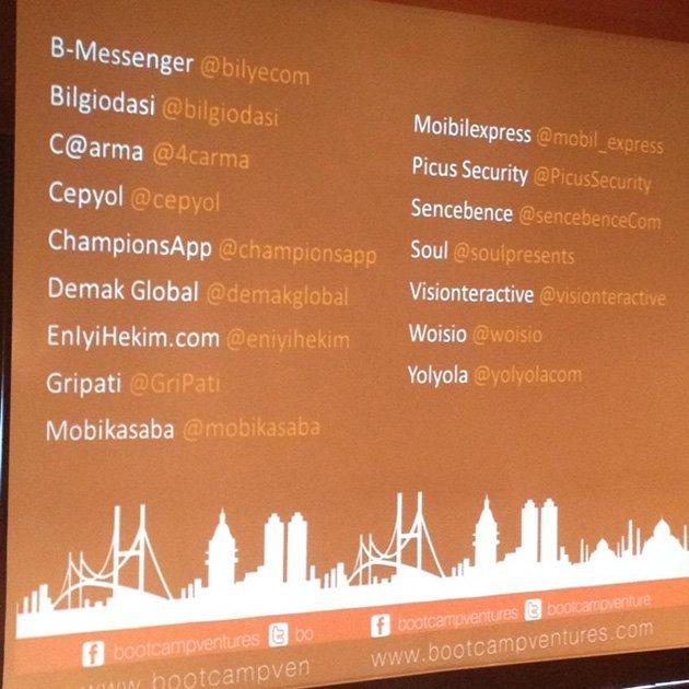 Etkinlikte sunum yapmış girişimlerin listesi ve Twitter hesapları