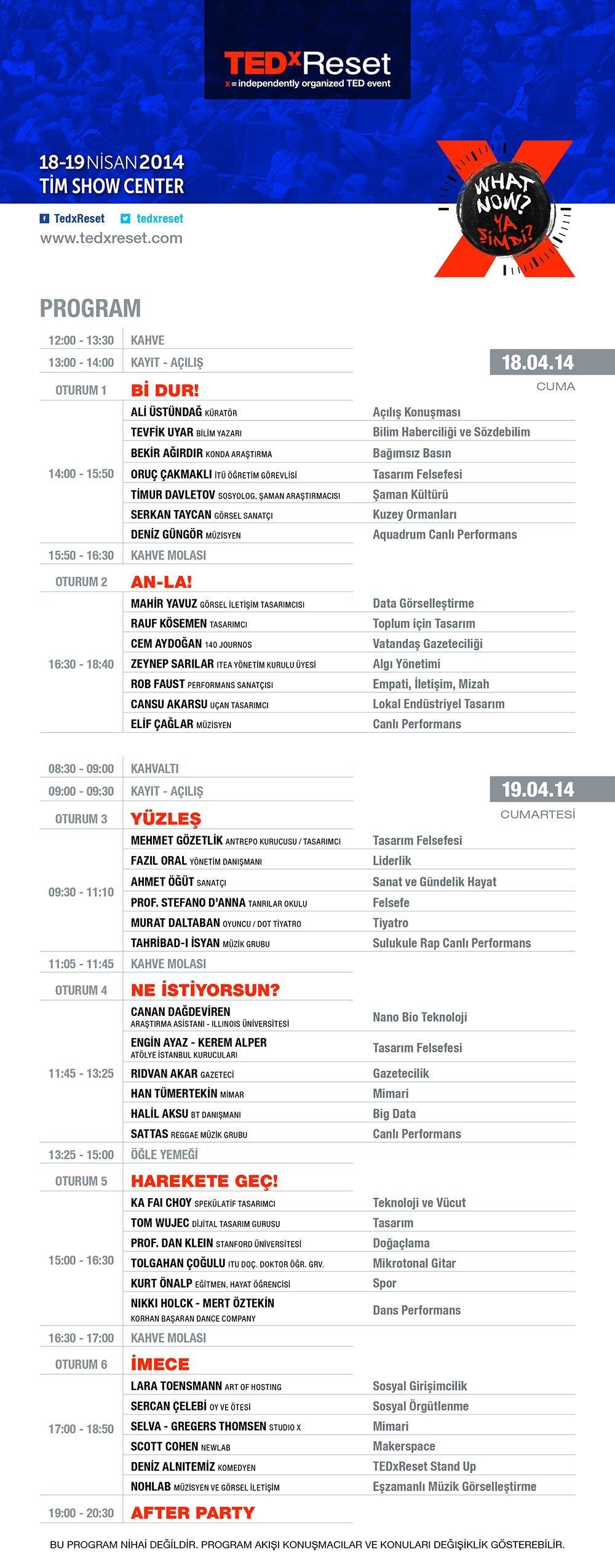 TEDxReset 2014 programı