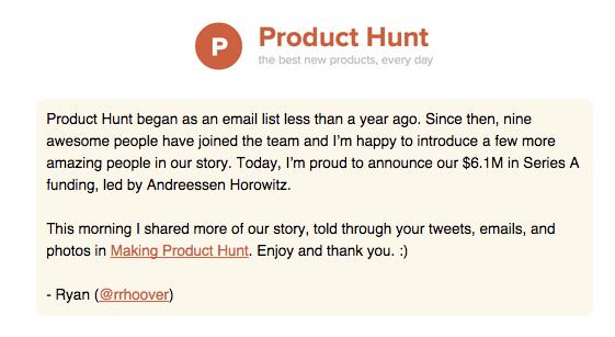 product hunt yatırım