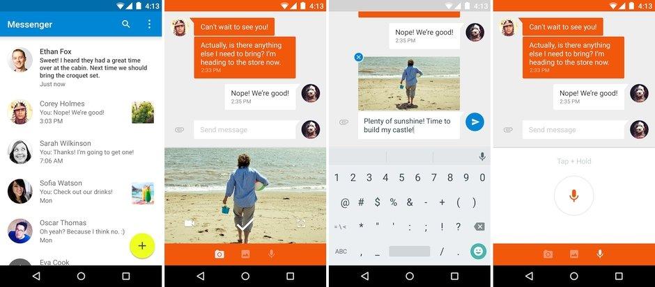 google messenger sms mms uygulamasi