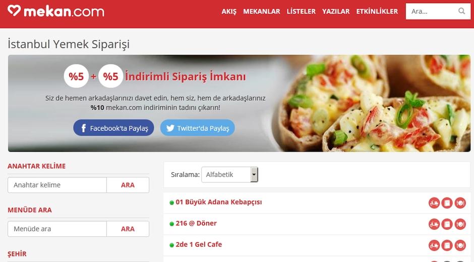 mekan.com yemek siparisi