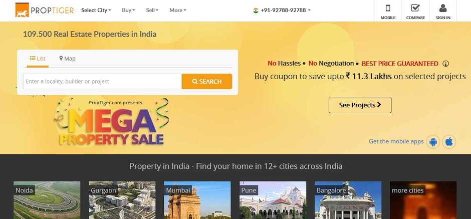 proptiger.com emlak sitesi hindistan