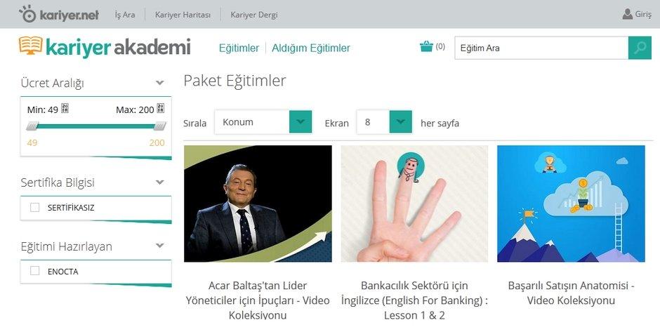 kariyer akademi e-egitim kariyer.net