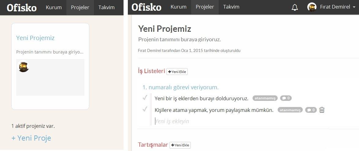 ofisko is proje yonetim uygulamasi