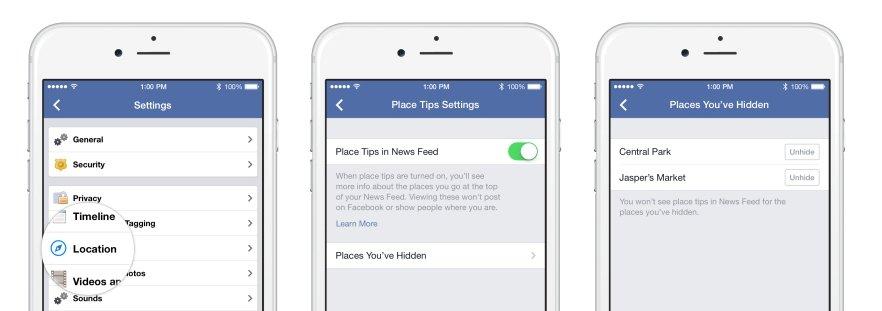 facebook places ayarlar