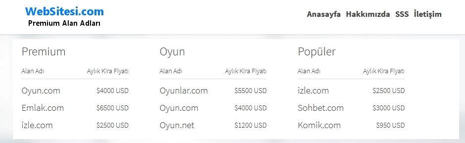 websitesi.com jenerik alan adi domain