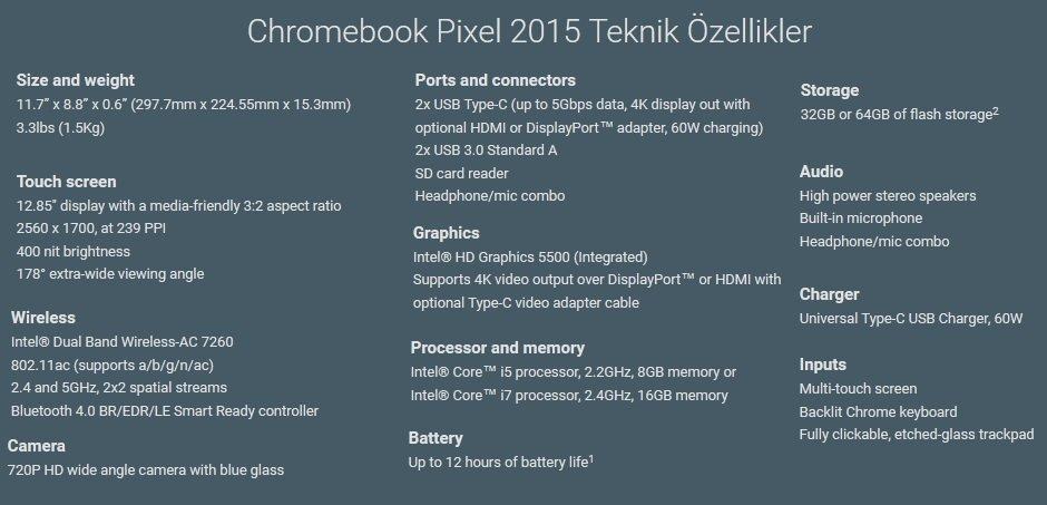 Chromebook Pixel 2015 Teknik Ozellikler