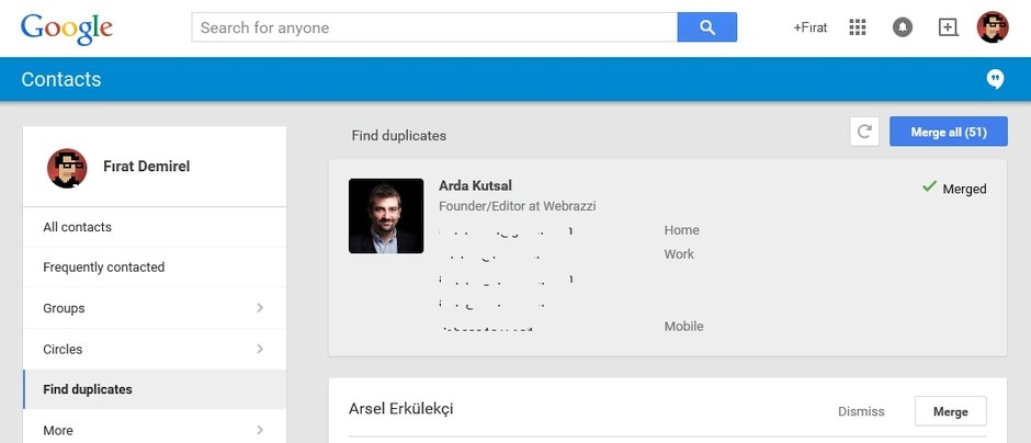 google contacts rehber