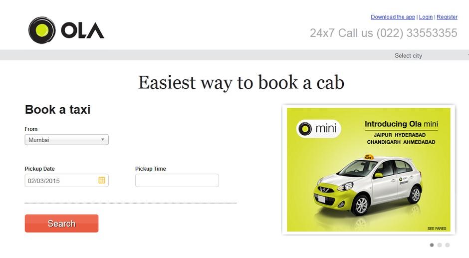 ola cabs hindistan taksi cagirma