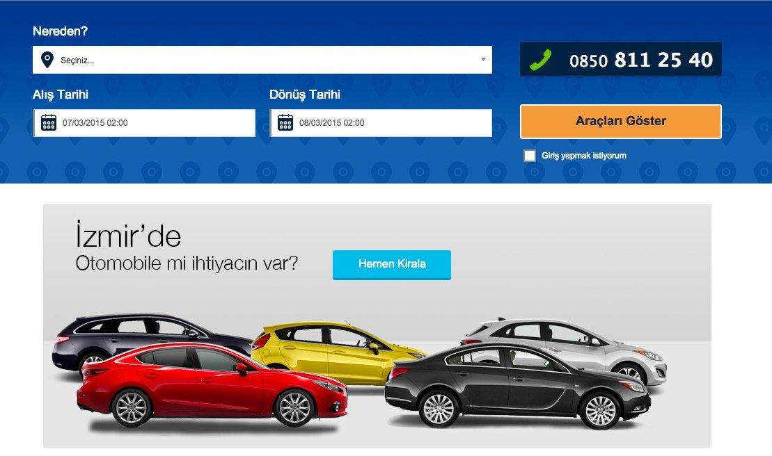 tasit.com araç kirala ekran