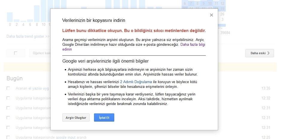 Google Arama Gecmisi indirme 2