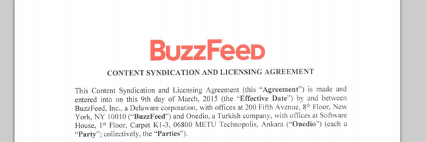buzfeed onedio agreement