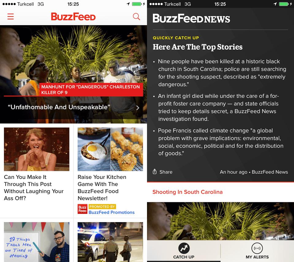 BuzzFeed'in ana uygulamasıyla BuzzFeed News arasındaki görünüm farkı