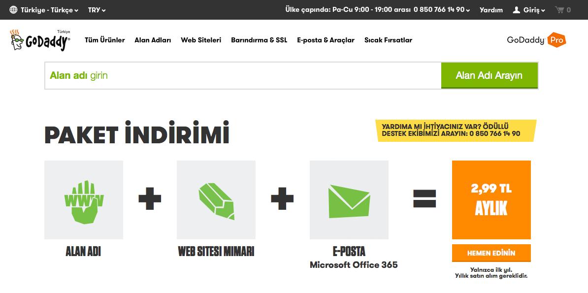 Godaddy web sitesi oluşturma Microsoft