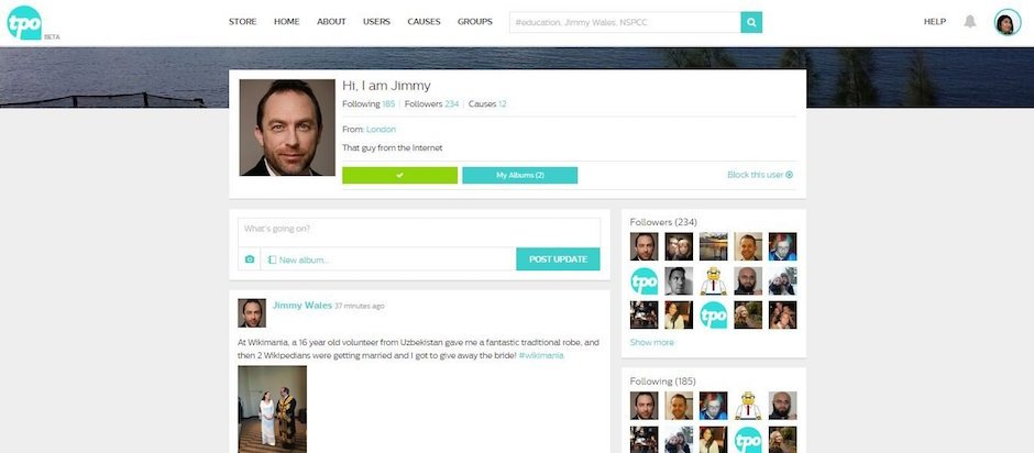 community - jimmy profile page