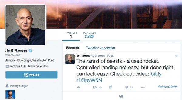 Amazon CEO'su Jeff Bezos da Twitter'a katıldı