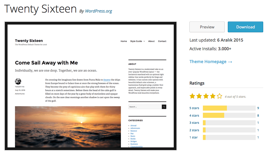 Twenty Sixteen WordPress
