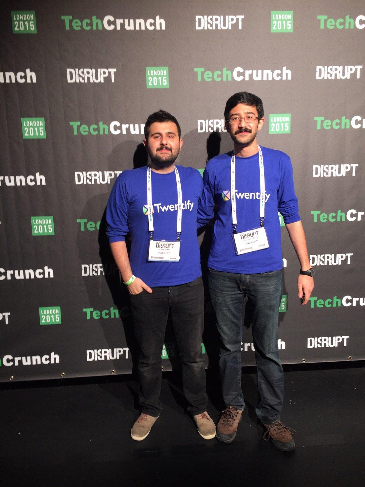 TechCrunch Startup Battlefield sahnesine çıkmadan hemen önce Twentify ekibi