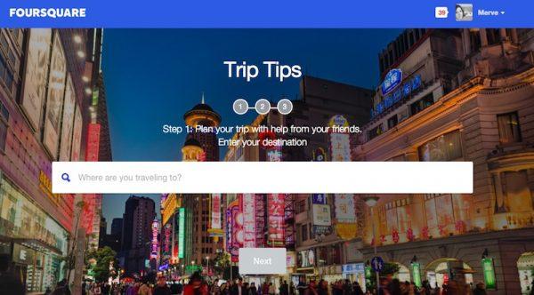 Foursquare sosyal seyahat planlama aracı Trip Tips'i tanıttı