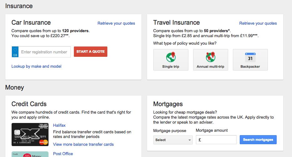 Google Finansal karsilastirma