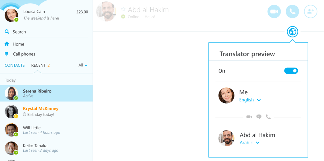 Skype Translator uygulama