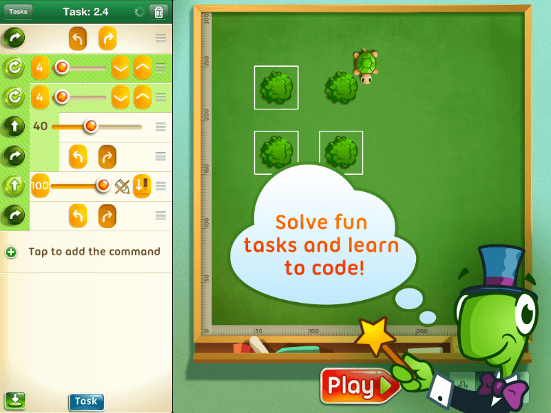 Çocuklara kod yazmayı öğreten online servis Move the Turtle