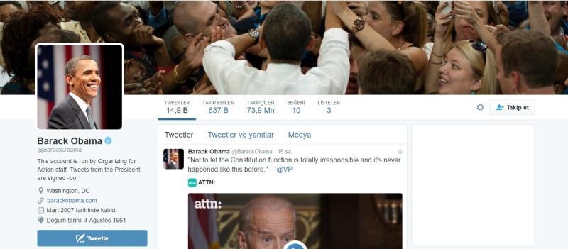 Twitter'daki en popüler 4. hesap Barack Obama