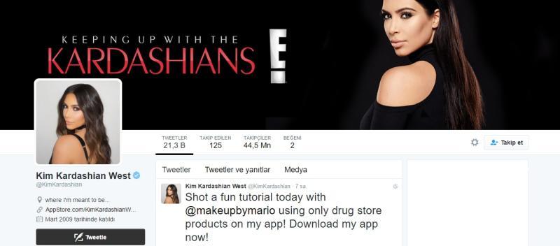Twitter'daki en popüler 12. hesap Kim Kardashian
