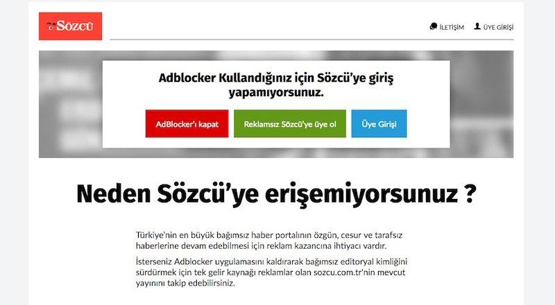 Sözcü gazetesi reklam engelleyicilere karşı Reklamsız Sözcü'yü devreye alıyor