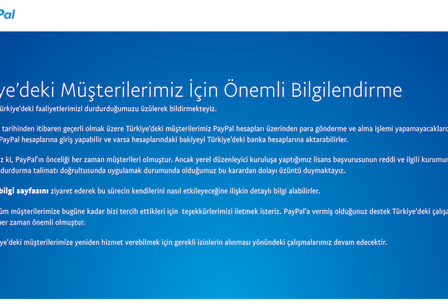PayPal halts operations in Turkey