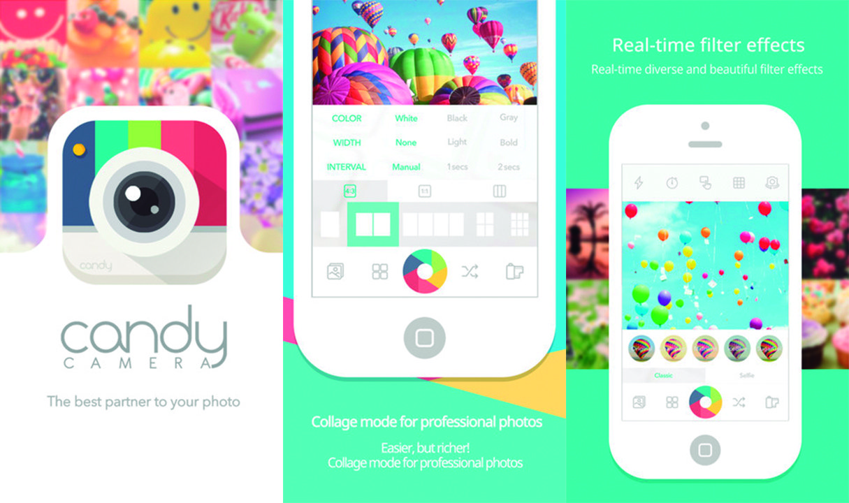 iOS ve Android içinbol filtre seçenekli bir selfie uygulaması: Candy camera