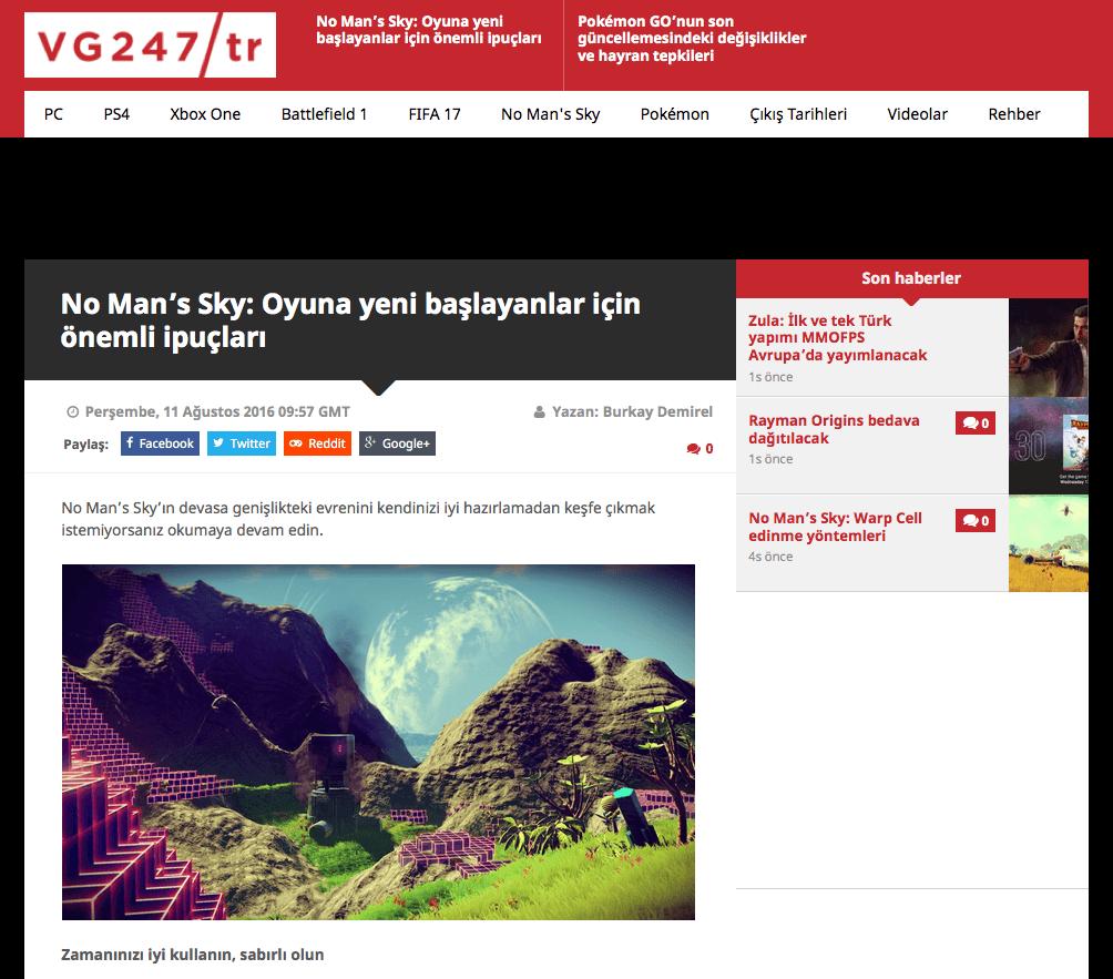 VG247'ün Türkiye edisyonundan bir ekran görüntüsü