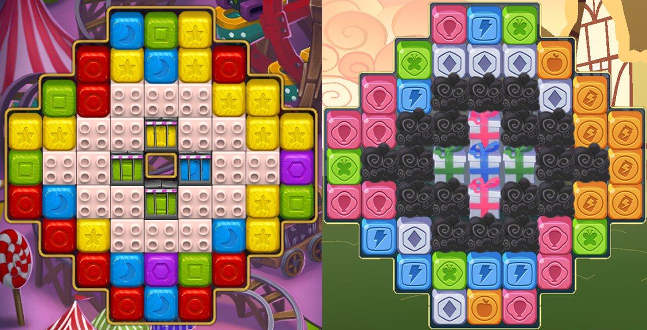 İki oyundan bir başka benzer bölüm. Solda Peak Games'in oyunu Toy Blast, sağda ise Hasbro'nun oyunu My Little Pony