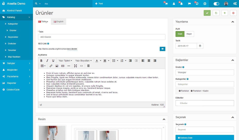Arastta'nın admin panelinden bir ekran görüntüsü
