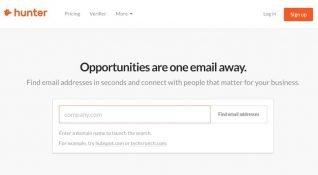 Hunter e-posta bulma aracıyla aradığınız şirketin çalışanlarına ulaşmanız mümkün